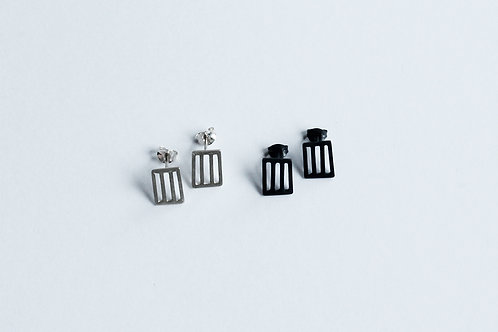 two pairs of silver minimal small square grid earrings in a blackened and polished finish
