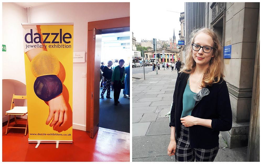 Photo 1 is from the Dazzle exhibit showing a doorway into the exhibition space, with a peak inside the room full of people. The front of the image has a big banner that says Dazzle Jewellery Exhibition and a large photo of a white hand wearing two statement grid bangles, in navy blue and yellow. Photo 2 is of Dominika captured on a busy street in Edinburgh. She is a white woman with mid-length blonde wavy hair, and black thick glasses. She is wearing a mint green top, a black blazer with a large grey bow shaped brooch she made, and checked black and white jeans.