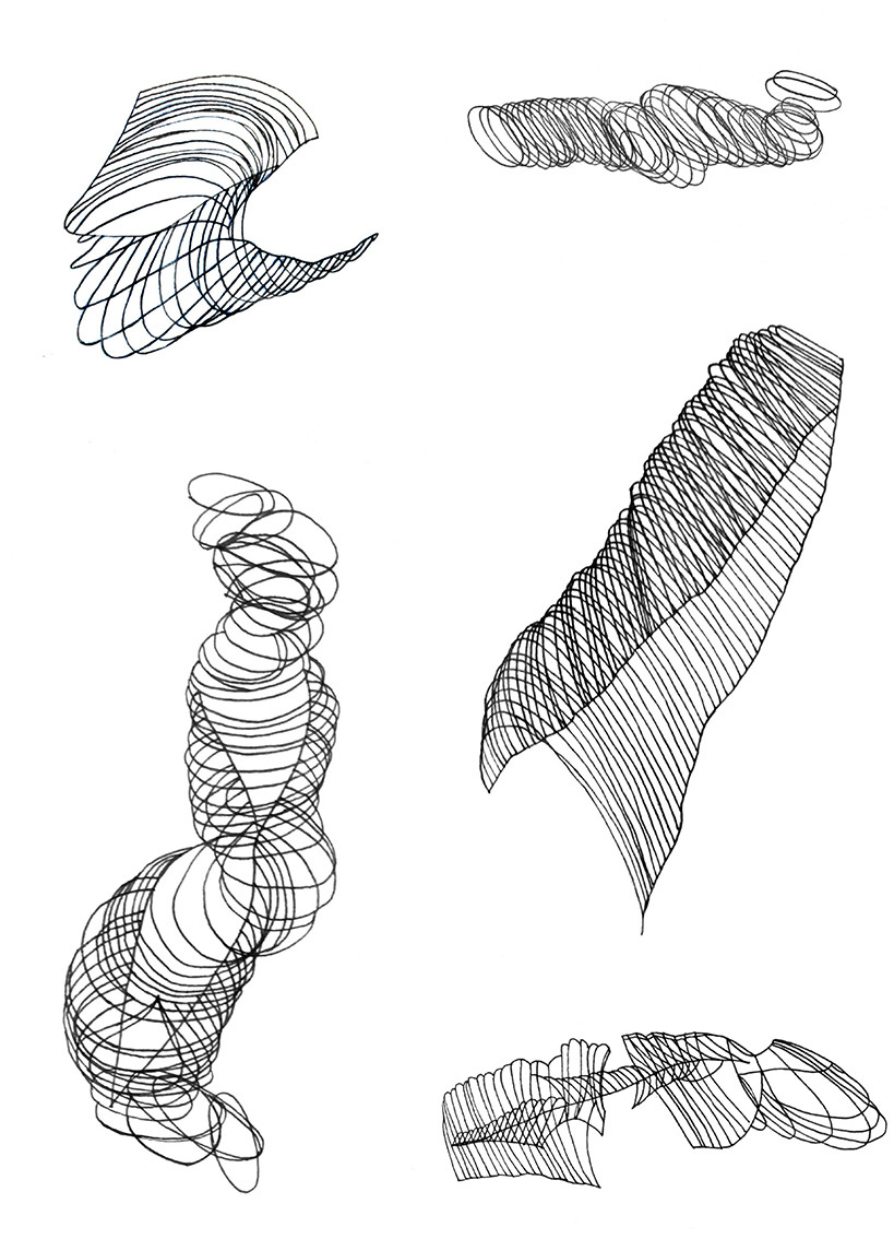 5 linear abstract pen drawings on white paper.