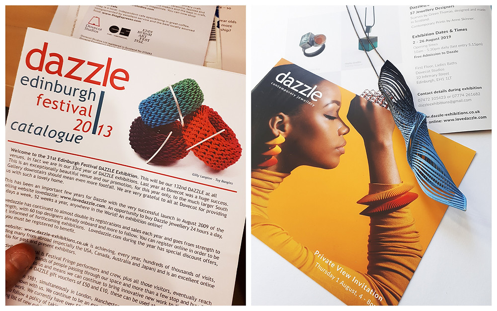 Photo 1 is a white hand holding a Dazzle Edinburgh catalogue from 2013. Photo 2 is of the most recent Dazzle leaflet with a gorgeous photograph of a black woman in a yellow turleneck wearing orange and red sculptural jewellery on a yellow background. A Twist Pendant in black and blue that I have made is lying across the leaflet.