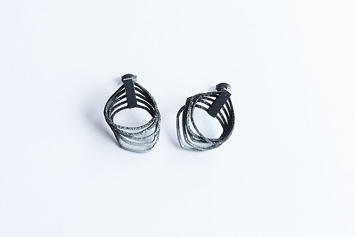 small pair of grey and black gradient handmade contemporary loop earrings with blackened silver clips