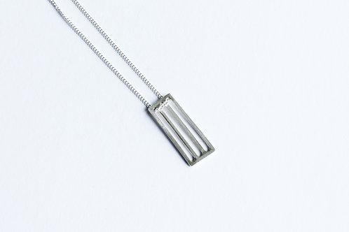 polished silver rectangular grid minimal pendant