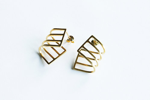 contemporary, handmade, elegant gold plated silver curve earrings