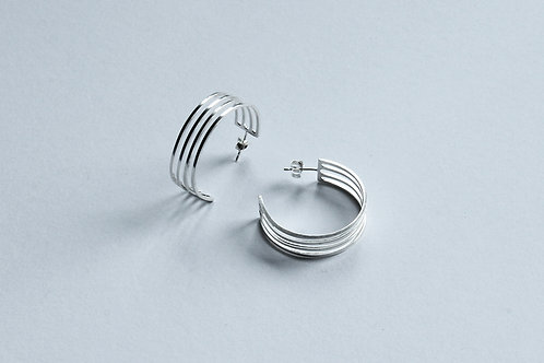 polished silver linear contemporary elegant hoop earrings