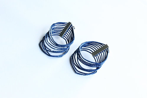statement handmade unique loop earrings in speckled navy blue with silver clips