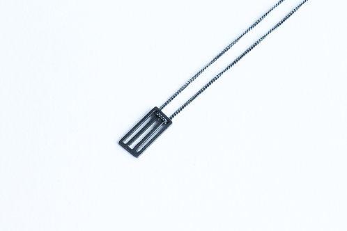 contemporary handmade blackened silver rectangular grid minimal pendant