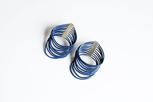statement handmade unique loop earrings in navy blue with silver clips