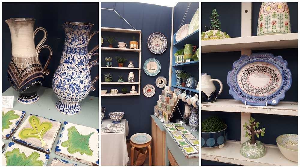 Images of Katrin Moye's stand at Craft Festival, showcasing her beautiful decorative ceramics. They are traditional forms with colourful patterns.