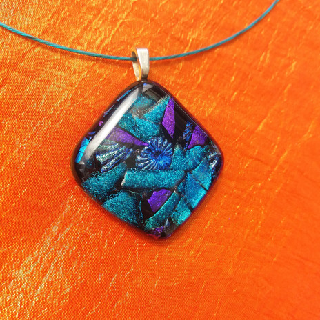 turquoise and purple mosaic pendant