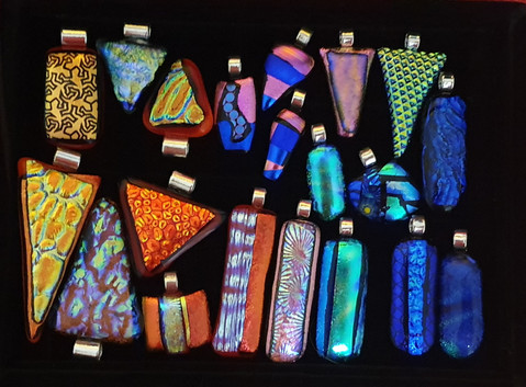 Selection of Dichroic Glass Pendants