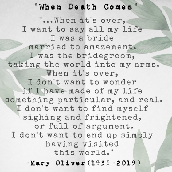 Remembering Mary Oliver