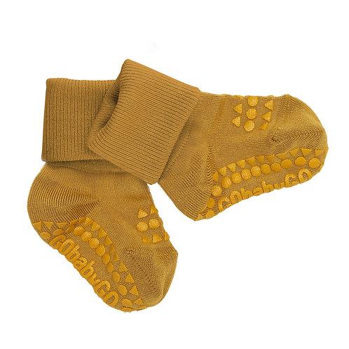 GOBABYGO bamboe sokjes anti slip pads - Mustard melange *sample