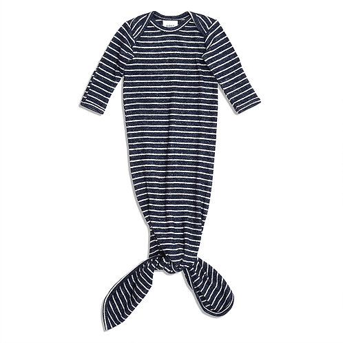 aden + anais Snuggle knit knotted gown  - Marine stripe