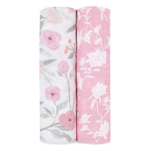 2 katoenen muslin swaddles - Mon fleur  1.20 x 1.20