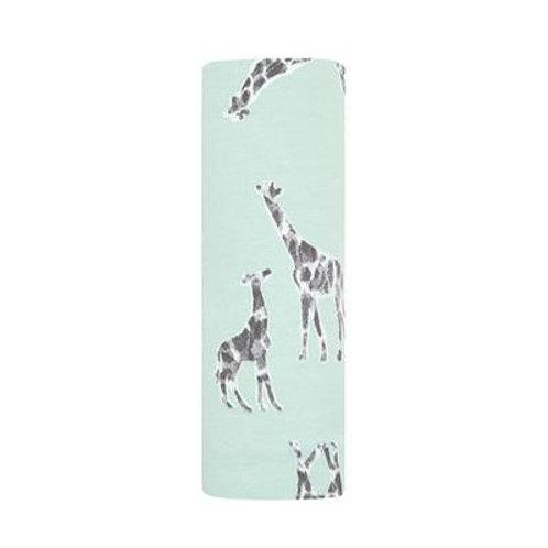 aden + anais Comfort knit swaddle - Jade giraffes *sample