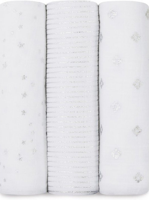 3 pak katoenen muslin swaddles - Silver metallic1.20 x 1.20