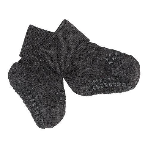 GOBABYGO bamboe sokjes anti slip pads - Dark grey melange *sample