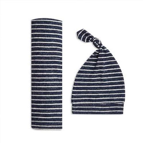aden + anais Giftset Snuggle knit swaddle + mutsje - Marine stripe