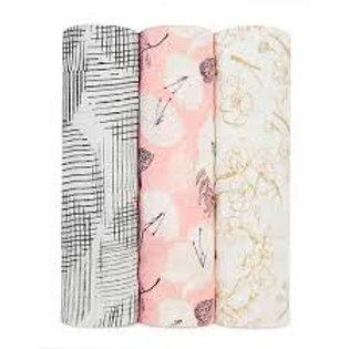 3 pak Silky Soft swaddles - Pretty Petal 1.20 x 1.20