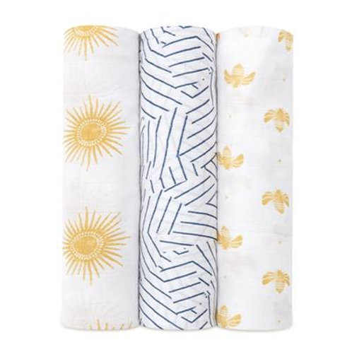 3 pak Silky Soft swaddles - Golden sun 1.20 x 1.20