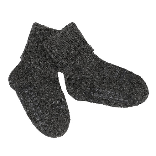 GOBABYGO Alpaca sokjes anti slip pads - Dark grey