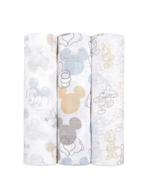 3 pak katoenen muslin swaddles - Disney Baby - Mickey + Minnie 1.20 x 1.20