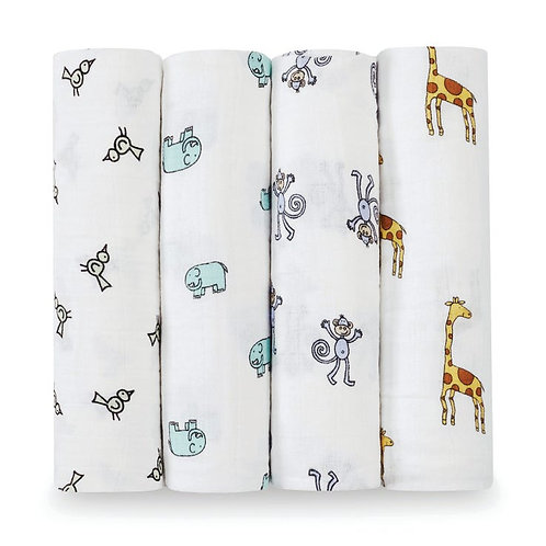 4 pak katoenen muslin swaddles - Jungle jam 1.20 x 1.20