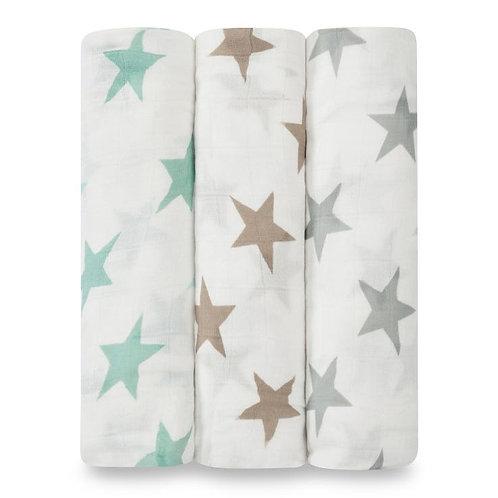 3 pak Silky Soft swaddles - Milky way 1.20 x 1.20