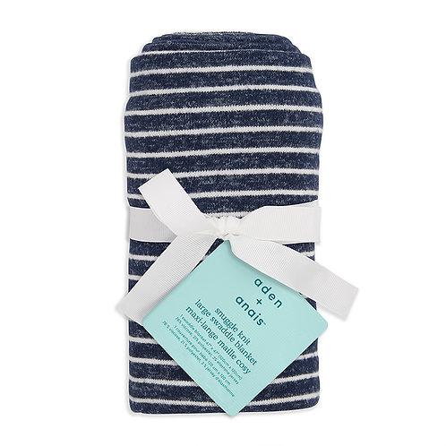 aden + anais Snuggle knit swaddle  - Marine stripe