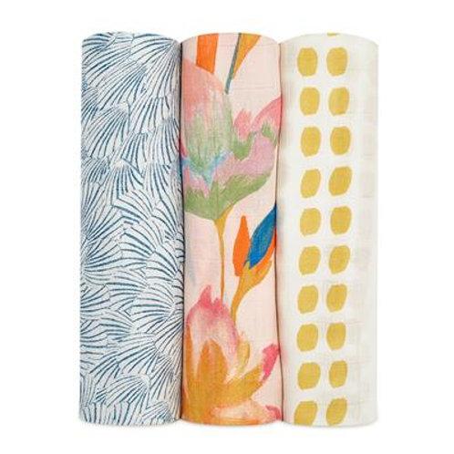 3 pak Silky Soft swaddles - Marine gardens *sample 1.20 x 1.20