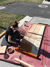 Staining the garden wall