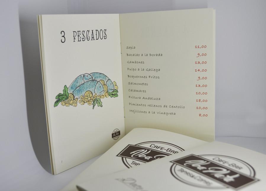 Diseño de carta con ilustraciones a mano Bar Alba Plata