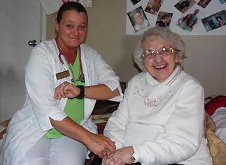 Happy patient at nursing home