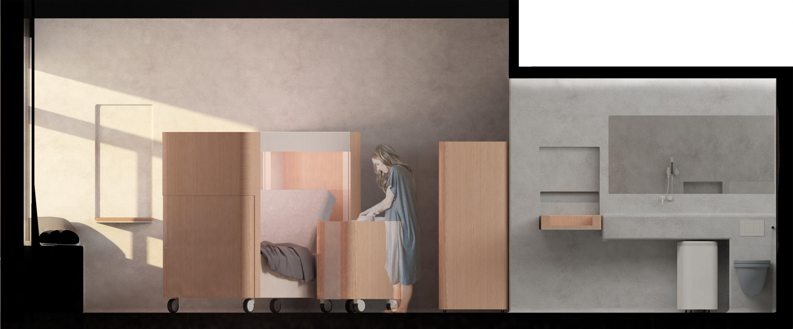 Längsschnitt   Wochenbettzimmer