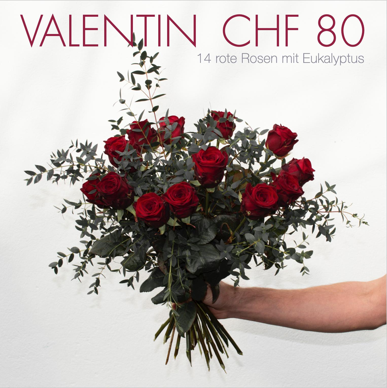 Valentin CHF 80 | 14 rote Rosen mit Eukalyptus