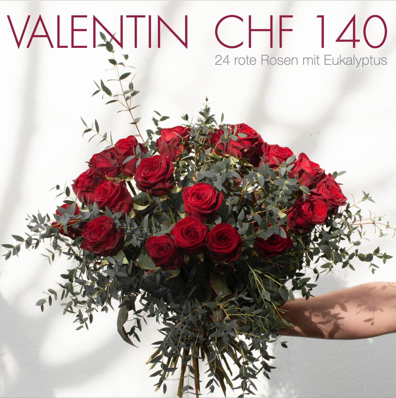 Valentin CHF 140 | 24 rote Rosen mit Eukalyptus