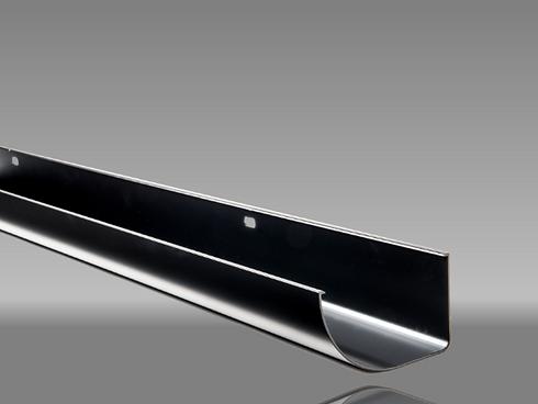 Black half round aluminium guttering