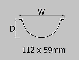 112mm extruded aluminium half round gutter profile