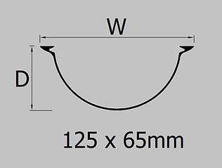 125mm extruded aluminium half round gutter profile