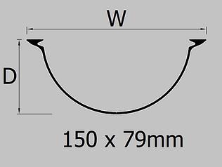 150mm extruded aluminium half round gutter profile