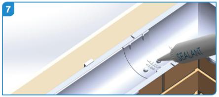 Adding sealant to the aluminium union clips