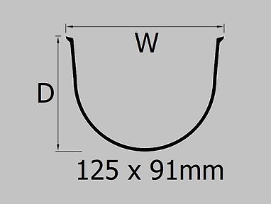 125mm extruded deep flow aluminium gutter profile