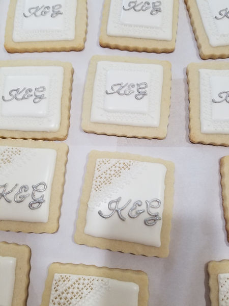 Lacework sugar cookies for an anniversary event