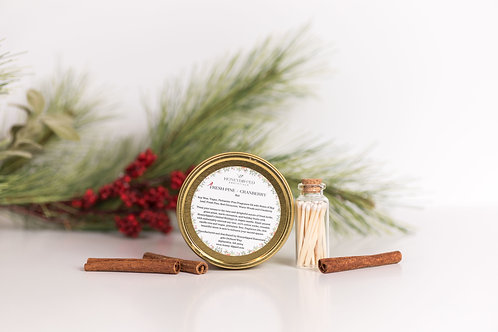 Fresh Pine + Cranberry Candle and Match Set