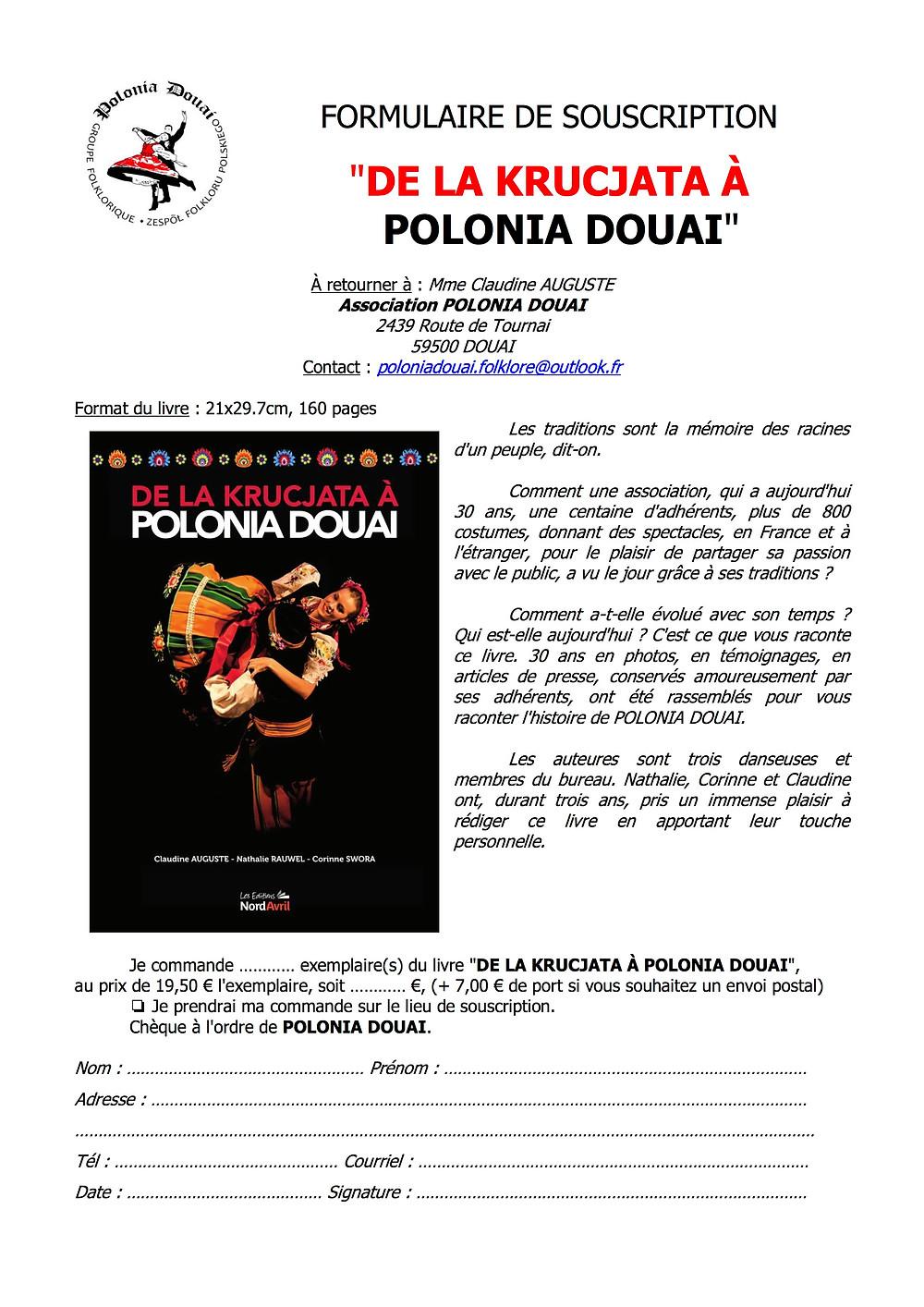 """Formulaire de souscription du livre """"De la Krucjata à Polonia Douai"""""""
