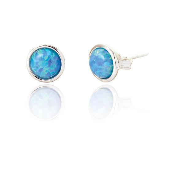 Sterling Silver Blue Opal Earstuds
