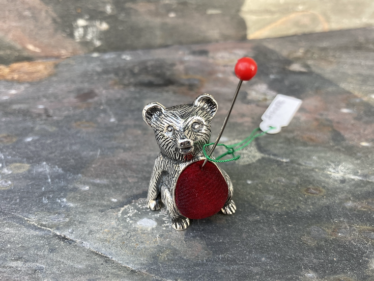 Silver bear pin cushion