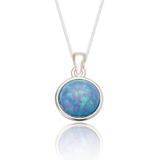 Blue Opal Silver Pendant