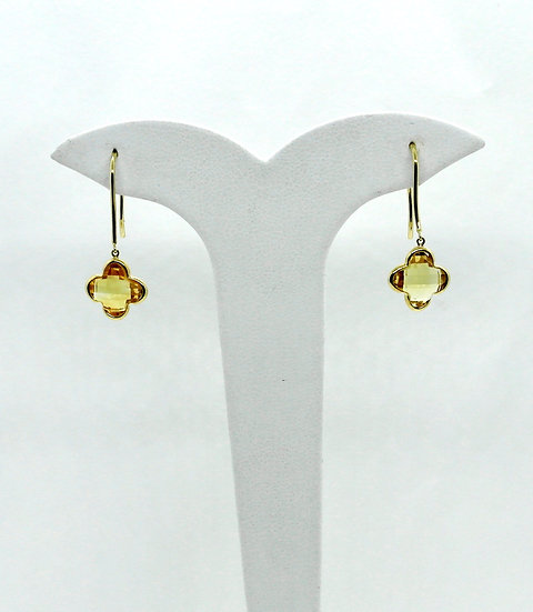 Yellow Gold and Citrine Earrings