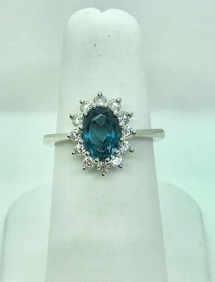 Blue topaz diamond cluster, jewellery tring